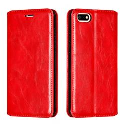 Retro Slim Magnetic Crazy Horse PU Leather Wallet Case for Huawei Y5 Prime 2018 (Y5 2018 / Y5 Lite 2018) - Red