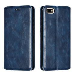 Retro Slim Magnetic Crazy Horse PU Leather Wallet Case for Huawei Y5 Prime 2018 (Y5 2018 / Y5 Lite 2018) - Blue