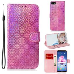 Laser Circle Shining Leather Wallet Phone Case for Huawei Y5 Prime 2018 (Y5 2018 / Y5 Lite 2018) - Pink