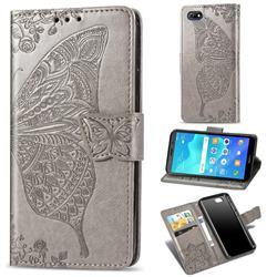 Embossing Mandala Flower Butterfly Leather Wallet Case for Huawei Y5 Prime 2018 (Y5 2018 / Y5 Lite 2018) - Gray