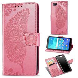 Embossing Mandala Flower Butterfly Leather Wallet Case for Huawei Y5 Prime 2018 (Y5 2018 / Y5 Lite 2018) - Pink