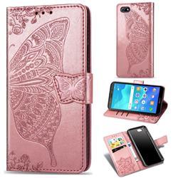 Embossing Mandala Flower Butterfly Leather Wallet Case for Huawei Y5 Prime 2018 (Y5 2018 / Y5 Lite 2018) - Rose Gold