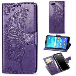 Embossing Mandala Flower Butterfly Leather Wallet Case for Huawei Y5 Prime 2018 (Y5 2018 / Y5 Lite 2018) - Dark Purple