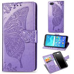 Embossing Mandala Flower Butterfly Leather Wallet Case for Huawei Y5 Prime 2018 (Y5 2018 / Y5 Lite 2018) - Light Purple