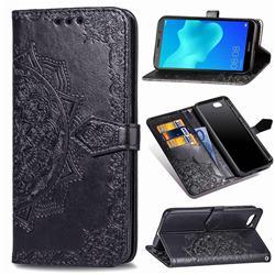 Embossing Imprint Mandala Flower Leather Wallet Case for Huawei Y5 Prime 2018 (Y5 2018 / Y5 Lite 2018) - Black