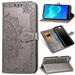 Embossing Imprint Mandala Flower Leather Wallet Case for Huawei Y5 Prime 2018 (Y5 2018 / Y5 Lite 2018) - Gray