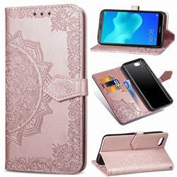 Embossing Imprint Mandala Flower Leather Wallet Case for Huawei Y5 Prime 2018 (Y5 2018 / Y5 Lite 2018) - Rose Gold