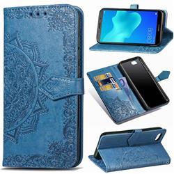 Embossing Imprint Mandala Flower Leather Wallet Case for Huawei Y5 Prime 2018 (Y5 2018 / Y5 Lite 2018) - Blue
