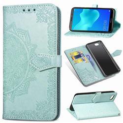 Embossing Imprint Mandala Flower Leather Wallet Case for Huawei Y5 Prime 2018 (Y5 2018 / Y5 Lite 2018) - Green