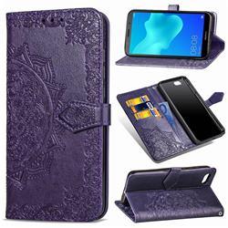 Embossing Imprint Mandala Flower Leather Wallet Case for Huawei Y5 Prime 2018 (Y5 2018 / Y5 Lite 2018) - Purple