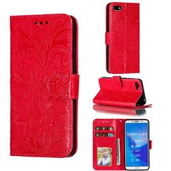 Intricate Embossing Lace Jasmine Flower Leather Wallet Case for Huawei Y5 Prime 2018 (Y5 2018 / Y5 Lite 2018) - Red