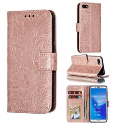 Intricate Embossing Lace Jasmine Flower Leather Wallet Case for Huawei Y5 Prime 2018 (Y5 2018 / Y5 Lite 2018) - Rose Gold