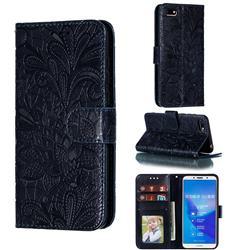 Intricate Embossing Lace Jasmine Flower Leather Wallet Case for Huawei Y5 Prime 2018 (Y5 2018 / Y5 Lite 2018) - Dark Blue