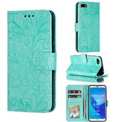 Intricate Embossing Lace Jasmine Flower Leather Wallet Case for Huawei Y5 Prime 2018 (Y5 2018 / Y5 Lite 2018) - Green
