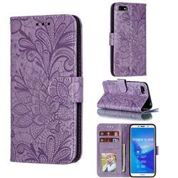 Intricate Embossing Lace Jasmine Flower Leather Wallet Case for Huawei Y5 Prime 2018 (Y5 2018 / Y5 Lite 2018) - Purple
