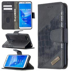 BinfenColor BF04 Color Block Stitching Crocodile Leather Case Cover for Huawei Y5 Prime 2018 (Y5 2018 / Y5 Lite 2018) - Black