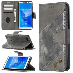 BinfenColor BF04 Color Block Stitching Crocodile Leather Case Cover for Huawei Y5 Prime 2018 (Y5 2018 / Y5 Lite 2018) - Gray