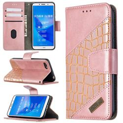 BinfenColor BF04 Color Block Stitching Crocodile Leather Case Cover for Huawei Y5 Prime 2018 (Y5 2018 / Y5 Lite 2018) - Rose Gold