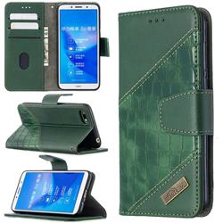 BinfenColor BF04 Color Block Stitching Crocodile Leather Case Cover for Huawei Y5 Prime 2018 (Y5 2018 / Y5 Lite 2018) - Green
