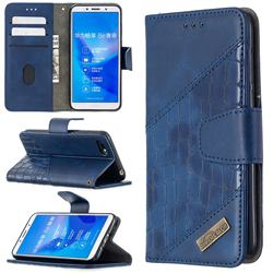 BinfenColor BF04 Color Block Stitching Crocodile Leather Case Cover for Huawei Y5 Prime 2018 (Y5 2018 / Y5 Lite 2018) - Blue