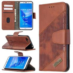 BinfenColor BF04 Color Block Stitching Crocodile Leather Case Cover for Huawei Y5 Prime 2018 (Y5 2018 / Y5 Lite 2018) - Brown