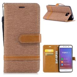 Jeans Cowboy Denim Leather Wallet Case for Huawei Y5II Y5 2 Honor5 Honor Play 5 - Brown