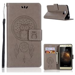 Intricate Embossing Owl Campanula Leather Wallet Case for Huawei Y5II Y5 2 Honor5 Honor Play 5 - Grey