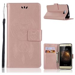 Intricate Embossing Owl Campanula Leather Wallet Case for Huawei Y5II Y5 2 Honor5 Honor Play 5 - Rose Gold