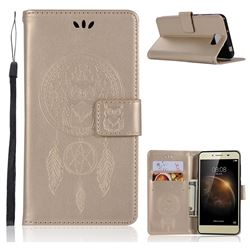 Intricate Embossing Owl Campanula Leather Wallet Case for Huawei Y5II Y5 2 Honor5 Honor Play 5 - Champagne