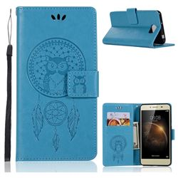 Intricate Embossing Owl Campanula Leather Wallet Case for Huawei Y5II Y5 2 Honor5 Honor Play 5 - Blue