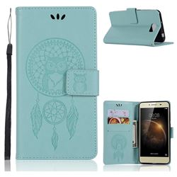 Intricate Embossing Owl Campanula Leather Wallet Case for Huawei Y5II Y5 2 Honor5 Honor Play 5 - Green