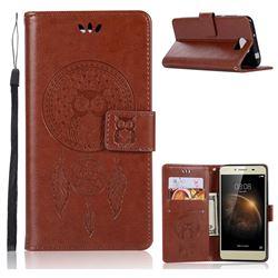 Intricate Embossing Owl Campanula Leather Wallet Case for Huawei Y5II Y5 2 Honor5 Honor Play 5 - Brown