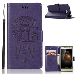 Intricate Embossing Owl Campanula Leather Wallet Case for Huawei Y5II Y5 2 Honor5 Honor Play 5 - Purple
