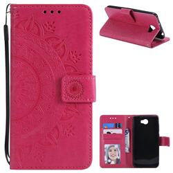 Intricate Embossing Datura Leather Wallet Case for Huawei Y5II Y5 2 Honor5 Honor Play 5 - Rose Red