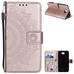 Intricate Embossing Datura Leather Wallet Case for Huawei Y5II Y5 2 Honor5 Honor Play 5 - Rose Gold