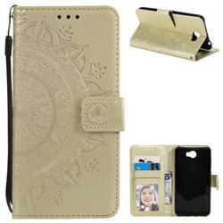 Intricate Embossing Datura Leather Wallet Case for Huawei Y5II Y5 2 Honor5 Honor Play 5 - Golden