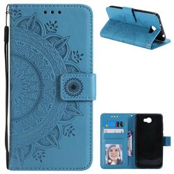 Intricate Embossing Datura Leather Wallet Case for Huawei Y5II Y5 2 Honor5 Honor Play 5 - Blue