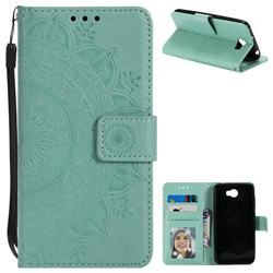 Intricate Embossing Datura Leather Wallet Case for Huawei Y5II Y5 2 Honor5 Honor Play 5 - Mint Green