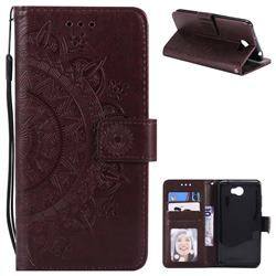 Intricate Embossing Datura Leather Wallet Case for Huawei Y5II Y5 2 Honor5 Honor Play 5 - Brown
