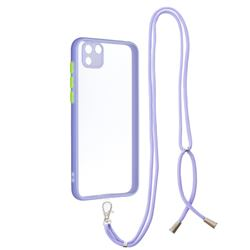 Necklace Cross-body Lanyard Strap Cord Phone Case Cover for Huawei Y5p - Purple