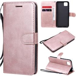 Retro Greek Classic Smooth PU Leather Wallet Phone Case for Huawei Y5p - Rose Gold