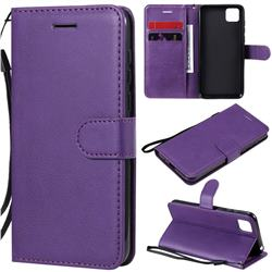 Retro Greek Classic Smooth PU Leather Wallet Phone Case for Huawei Y5p - Purple