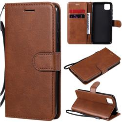 Retro Greek Classic Smooth PU Leather Wallet Phone Case for Huawei Y5p - Brown