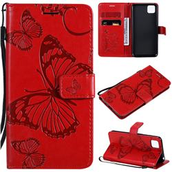 Embossing 3D Butterfly Leather Wallet Case for Huawei Y5p - Red