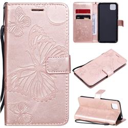 Embossing 3D Butterfly Leather Wallet Case for Huawei Y5p - Rose Gold