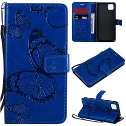 Embossing 3D Butterfly Leather Wallet Case for Huawei Y5p - Blue