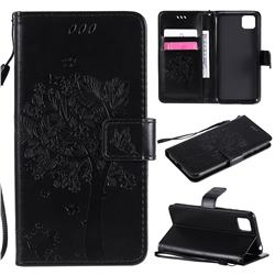 Embossing Butterfly Tree Leather Wallet Case for Huawei Y5p - Black
