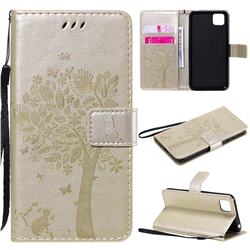 Embossing Butterfly Tree Leather Wallet Case for Huawei Y5p - Champagne