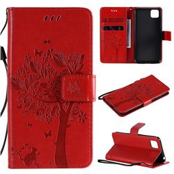 Embossing Butterfly Tree Leather Wallet Case for Huawei Y5p - Red