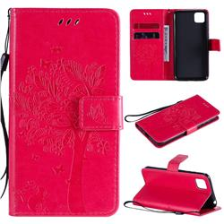 Embossing Butterfly Tree Leather Wallet Case for Huawei Y5p - Rose